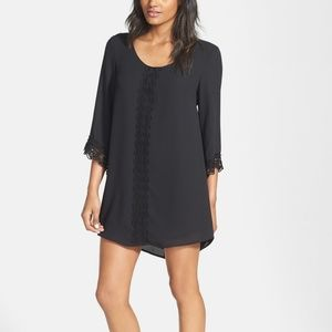 ASTR Black 3/4 Sleeve Lace Trim Shift Dress